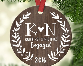 Engagement Gift for Couple Engagement Ornament First Christmas Engaged Ornament Engagement Gift for Her Personalized Wood Rustic Initials