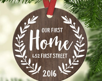 Housewarming Gift New Home Ornament Christmas Ornament Our First Home House Ornament New Home Housewarming Gift Custom Address Wood Cute