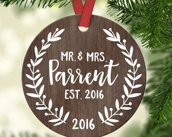 Personalized Wedding Gift for Couple First Christmas Wedding Ornament Christmas Ornaments First Christmas Ornament Married Ornament Year