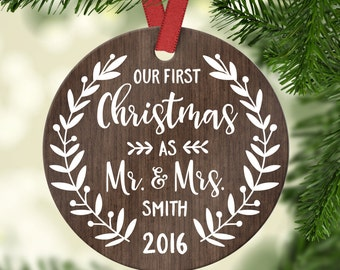 Wedding Gift First Christmas Ornament Married Wedding Gift for Couple Wedding Ornament Christmas Ornaments Personalized Mr Mrs Ornament Wood