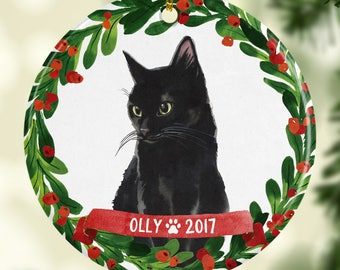 cat ornament pet gift cat christmas ornament black cat ornament black cat christmas ornament cat lover gift red green black cat red