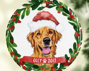 dog ornament pet gift golden retriever christmas ornament golden retriever ornament dog christmas ornament custom dog wearing santa hat cute