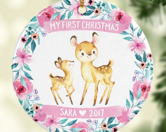 New Baby Gift Girl Babys First Christmas Ornament Deer Pink 7038