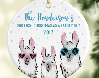 family christmas ornament personalized 2017 family ornament our first christmas as a family of 3 ornament llama ornament fun