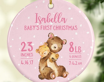 Baby Christmas Ornament Babys First Christmas Ornament Girl Personalized Babys First Christmas Ornament Baby Ornament Baby Bear Stats Cute