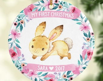 Babys First Christmas Ornament Personalized Baby Christmas Ornament Baby Girl Ornament Babys First Christmas Ornament Girl Pink Bunny Floral