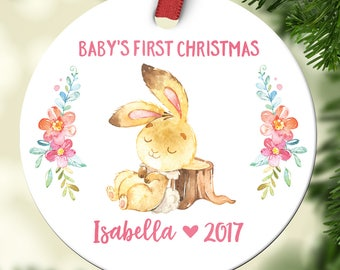 Baby Girl First Christmas Ornament Baby Personalized Christening Gifts for Goddaughter Babys First Christmas Ornament Personalized Cute