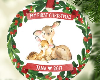Baby Christmas Ornament Babys First Christmas Ornament Personalized Baby Ornament Babys First Christmas Ornament Boy or Girl Deer Wreath Red
