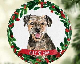 AD-BT5SL Border Terrier Puppy Dog Photo Slate Christmas Gift Ornament