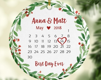 wedding gift for couple personalized wedding shower gift for bride first christmas ornament married wedding ornament green