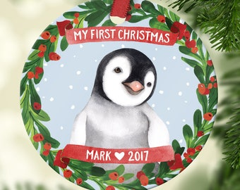 Babys First Christmas Ornament Baby Boy Personalized Babys First Christmas Ornament Personalized Penguin Baby Shower Gift Baby Ornament