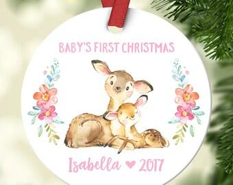 Christening Gift Girl Ornament Babys First Christmas Ornament Personalized Babys First Christmas Ornament Girl Baby Christmas Ornament Deer