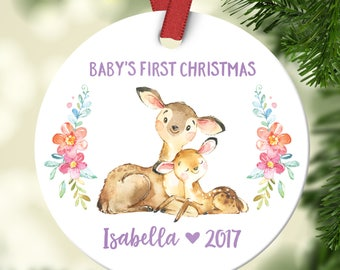 Christmas Ornaments Baby Christening Gifts for Girls Ornament Christmas Ornament Personalized Babys First Christmas Ornament Baby Girl Deer