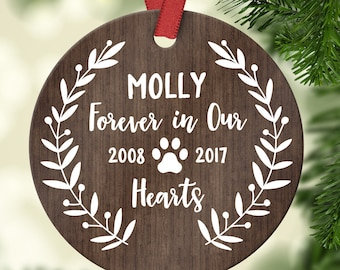Pet Memorial Ornament Pet Memorial Gifts Dog Memorial Gift Dog Memorial Ornament Dog Memory Christmas Ornament Pet Loss Gifts Custom Wood