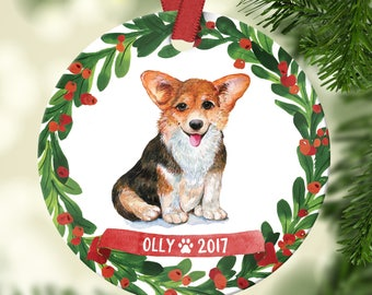 corgi ornament pet gift corgi christmas ornament corgi dog ornament dog christmas ornament personalized custom corgi ornament red green fun - Corgi Christmas Ornaments