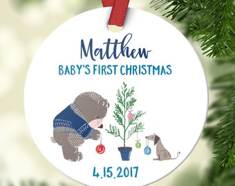 Babys First Christmas Ornament Personalized Babys First Christmas Ornament Boy Baby Christmas Ornament Baby Ornament Christening Gift Cute