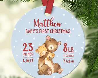 First Christmas Ornament Baby Boy First Christmas Ornament Baby Personalized Babys First Christmas Ornament Cute Red Snow Bear Dates