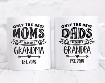 Grandparents Pregnancy Announcement Grandparent Pregnancy Reveal Grandparent Gifts for Grandparents Mugs Grandparents Coffee Mug Set Year