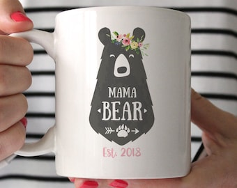 Personalized Mothers Day Gift From Husband Baby Shower For Mom Mama Bear Mug New Birthday Cute