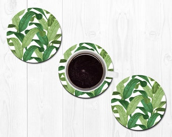 Coasters for Drinks Drink Coaster Banana Leaf Coasters Hostess Gift New Home Gift Housewarming Gift Tropical Coasters Best Friend Gift