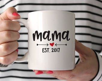 New Mom Gift Baby Shower For Mama Established 2017 Mother From Friend Mug Birthday Red Fun