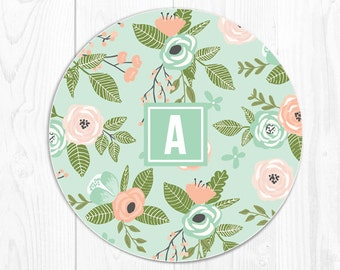 Coworker Gift Mouse Pad Floral Mousepad Gifts for Mom Monogram Mouse Pad Mint Mouse Pad Personalized Mouse Pad Office Decor Office Desk 9033