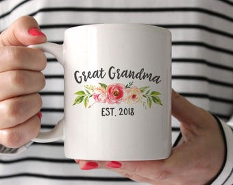 Great Grandma Gift Mug Birthday Pregnancy Announcement Reveal Ideas Pink