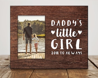 Custom Fathers Day Gift From Daughter Photo Frame Birthday For Dad Daddys Little Girl Quote 8143