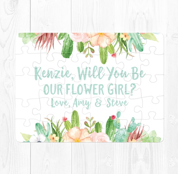 Flower Girl Proposal Puzzle Will You Be My Flower Girl Puzzle Proposal Ask Flower Girl Cute Flower Girl Proposal Gift Cactus Mint Green Cute