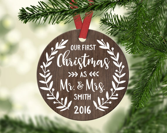 Wedding Gift First Christmas Ornament Married Wedding Gift For Couple Wedding Ornament Christmas Ornaments Personalized Year 7200