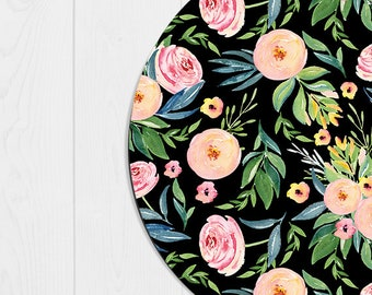 Mouse Pad Floral Mousepad Cubicle Decor Floral Peach Office Desk Accessories Office Supplies Cubicle Decorations Coworker Gifts Black Pink