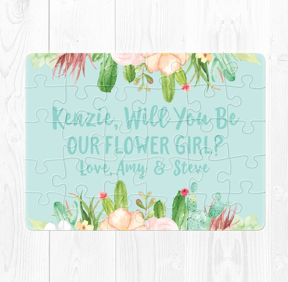 Flower Girl Puzzle Will You Be My Flower Girl Puzzle Proposal Flower Girl Proposal Puzzle Ask Flower Girl Puzzle Cactus Floral Peach Blue