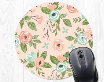 Mousepad Mouse Pad Mousepads Floral Mint Pink Office Supplies Office Desk Accessories Office Decor Office Gifts for Coworker Desk Decor Fun