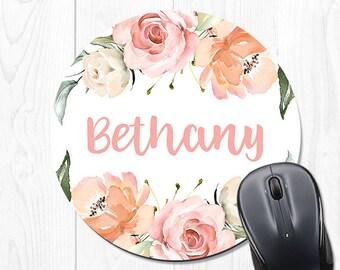 Mouse Pad Round Mousepad Floral Office Desk Accessories Cute Peach Pink Office Supplies Desk Decor 9456