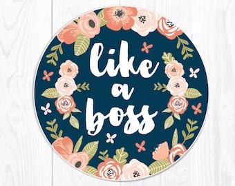 Coworker Gift Mouse Pad Boss Gift School Supplies Coral Desk Decor Dorm Decor Floral Cute Peach Office Supplies Like a Boss Navy Fun 9203