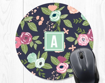 Office Decor Personalized Mouse Pad School Supplies Dorm Mousepad Coworker Gift Office Supplies Floral Mouse Pad Monogram Mouse Pad 9185