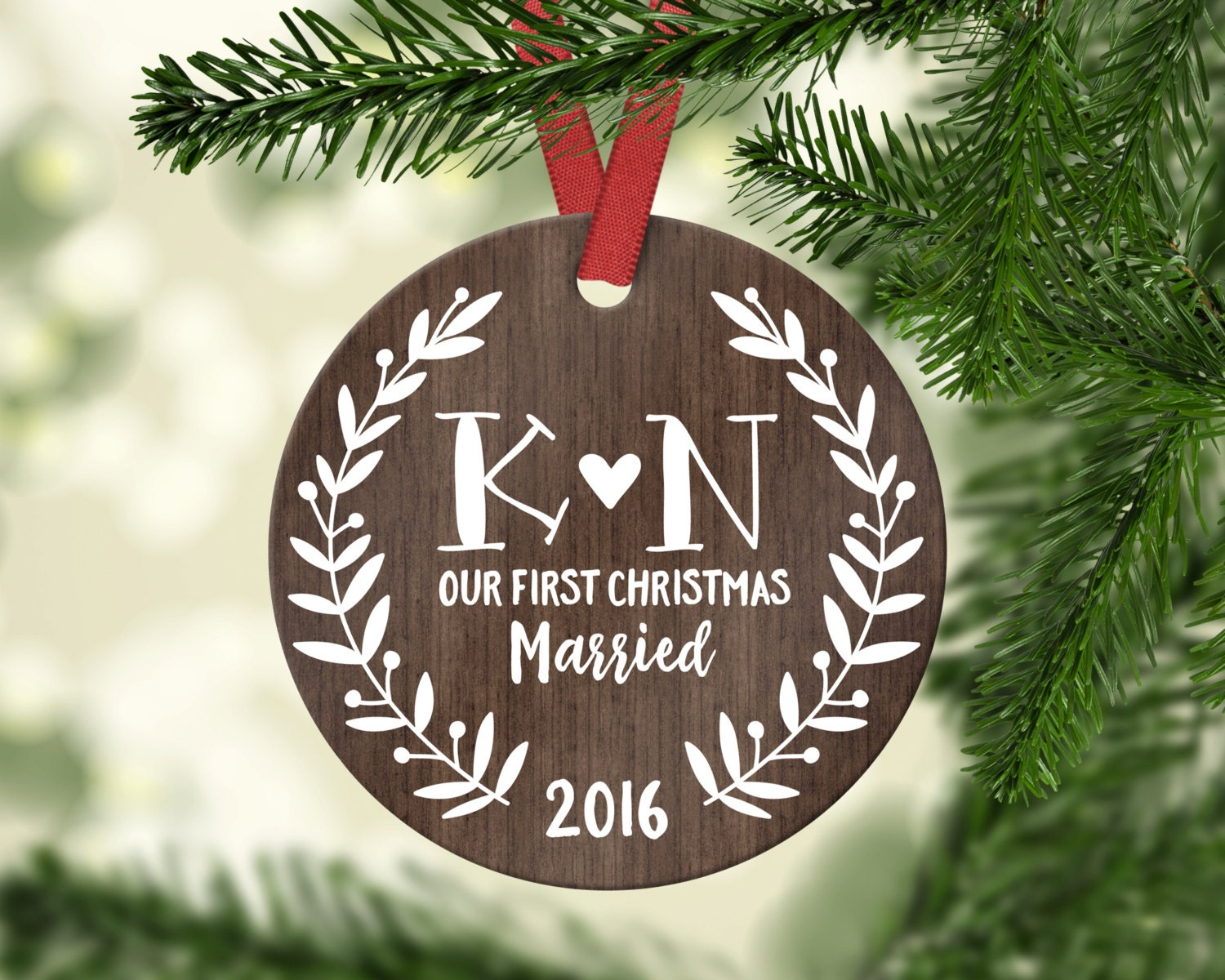 wedding gift for couple first christmas ornament married etsy