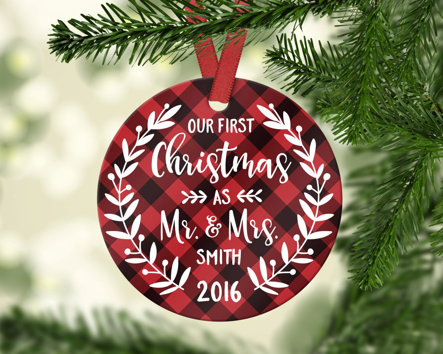 Wedding Gift Ornaments: First Christmas Ornament Married Wedding Ornament Wedding