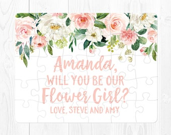 Flower Girl Proposal Card Flower Girl Puzzle Proposal Will You Be My Flower Girl Proposal Puzzle Flower Girl Proposal Gift Pink Green Fun