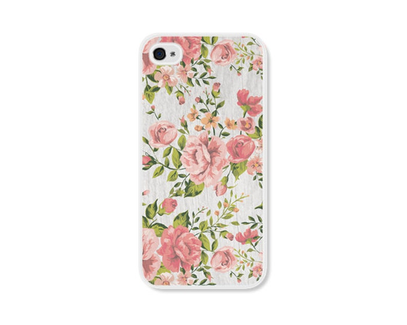 Peach Green And Grey Floral Rose Iphone Case Iphone 4 Case Etsy