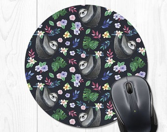 Round Mouse Pad Sloth Mousepad Floral Office Desk Accessories Cute Navy Blue 9306