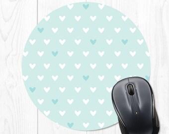 Mouse Pad Blue Mousepad Heart Mouse Mat Cute Office Supplies Dorm Decor Cubicle Decor Office Desk Accessories Office Accessories