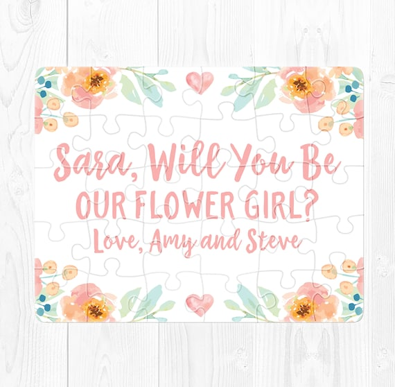 Flower Girl Proposal Puzzle Flower Girl Puzzle Will You Be My Flower Girl Gift Flower Girl Proposal Card Ask Flower Girl Peach Mint Green