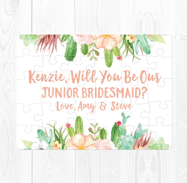 Will You Be My Junior Bridesmaid Puzzle Junior Bridesmaid Proposal Puzzle Junior Bridesmaid Proposal Card Gift Cactus Peach Southwest