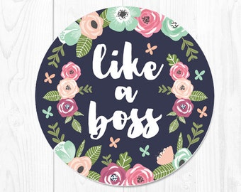Mouse Pad School Supplies Boss Gift Floral Mousepad Dorm Decor Office Desk Accessories Coworker Gift Mint Office Supplies Like a Boss 9002
