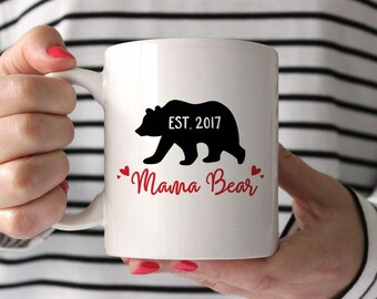 Personalized Baby Shower Gift for Mom Mama Bear Mug New Mom Gift Birthday Gift for Mom Gift for Her Custom Mom Mug Birthday Gift Coffee Mug