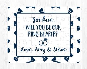 Ring Bearer Proposal Ringbearer Puzzle Ring Bearer Proposal Puzzle Ringbearer Proposal Gift Ring Bearer Proposal Card Custom Navy Blue Cute