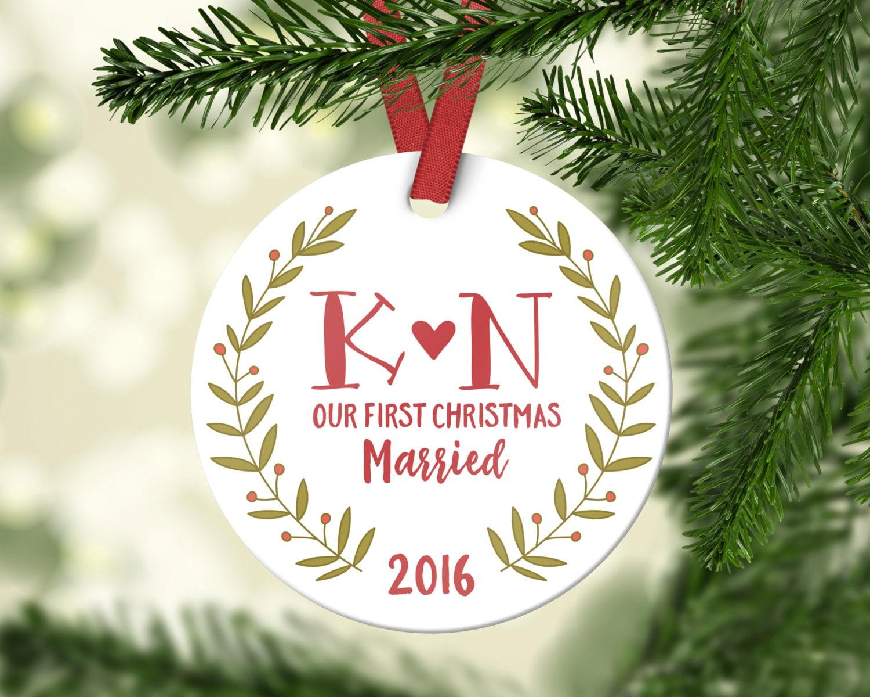 Hochzeit Geschenke für paar ersten Christbaumkugel | Etsy