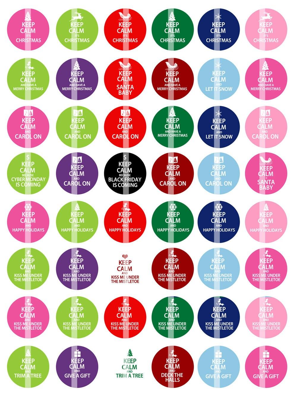 NEW Keep Calm Christmas Sayings 1 inch Round Digital | Etsy