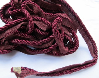 "Burgundy SATIN ROPE TRIM 469"" (13 yards)"